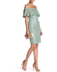 Marina - Off-the-shoulder Sequin Lace Dress - Lyst