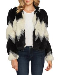 Cece by Cynthia Steffe - Chevron Faux Fur Jacket - Lyst