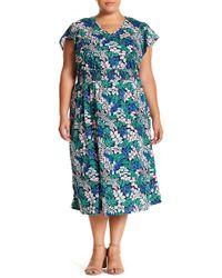 Joe Fresh - Floral V-neck Midi Dress (plus Size) - Lyst