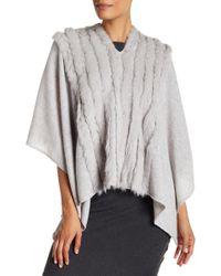 In Cashmere - Genuine Rabbit Fur Wool Blend Cape - Lyst
