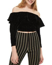 TOPSHOP - Studded Off The Shoulder Velvet Top - Lyst