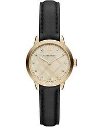 Burberry - Women's Diamond Leather Band Watch - 0.4 Ctw - Lyst