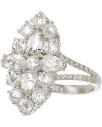 Meira T - 14k White Gold Topaz & Diamond Cluster Ring - Lyst