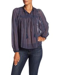 a4302215ce8b7 Lyst - Lucky Brand Embroidered Bib Blouse