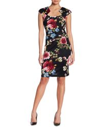 Connected Apparel | Horseshoe Neck Floral Dress | Lyst