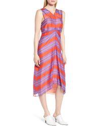LEWIT - Stripe Silk Midi Dress - Lyst