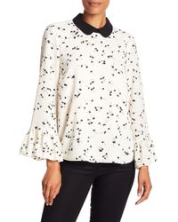 Cece by Cynthia Steffe - Ditsy Bell Sleeve Blouse - Lyst