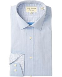 707fbec72a6 Lyst - Ted Baker Queenyy Trim Fit Solid Dress Shirt in White for Men