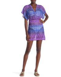 Jordan Taylor - Ombre Surplice Crochet Cover-up Tunic Dress - Lyst