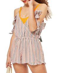 2d5666a047f Lyst - TOPSHOP Jersey Wrap Cover-up Romper in White