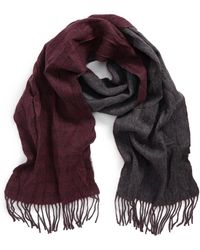 John Varvatos - Double Face Windowpane Wool Scarf - Lyst