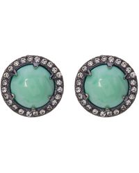 Loren Hope - Prong Set Round Stone & Pave Halo Stud Earrings - Lyst