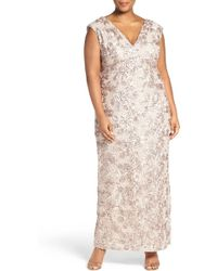 Marina - V-neck Sequin Lace Empire Gown (plus Size) - Lyst