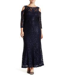 Marina - Sequin Lace Cold Shoulder Gown (plus Size) - Lyst