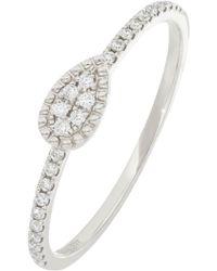 Bony Levy - Mika 18k White Gold Pave Diamond Petite Pear Shape Ring - 0.10 Ctw - Lyst