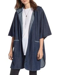 Treasure & Bond - Denim Hooded Poncho - Lyst