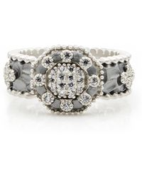 Freida Rothman - Two-tone Rhodium Plated Sterling Silver Pave Cz Deco Ring - Size 8 - Lyst