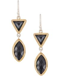 Anna Beck - 18k Gold Plated Sterling Silver Hematite Double Drop Earrings - Lyst