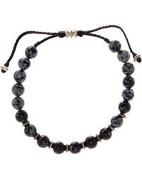 Link Up - 8mm Sbowflake Obsidian Beaded Cord Bracelet - Lyst