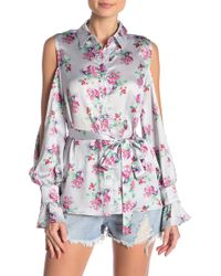 Lost Ink - Cherry Cold Shoulder Shirt - Lyst