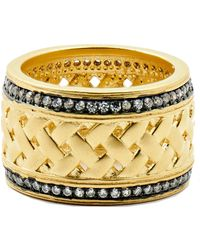 Freida Rothman - 14k Gold & Black Rhodium Plated Textured Ornaments Pave Cz Wide Band Ring - Size 9 - Lyst