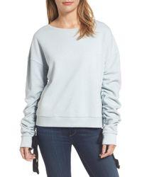 Halogen - (r) Ruched Tie Sleeve Sweatshirt (regular & Petite) - Lyst