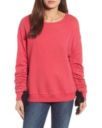 Halogen | Ruched Tie Sleeve Sweatshirt (regular & Petite) | Lyst