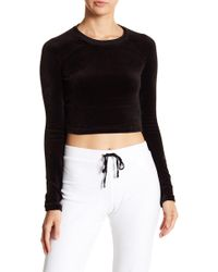 Juicy Couture - Velour Long Sleeve Cropped Top - Lyst