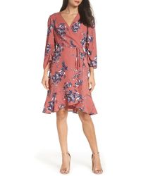 Charles Henry - Ruched Sleeve Wrap Dress (regular & Petite) - Lyst