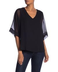Pleione - Contrast V-neck Blouse - Lyst