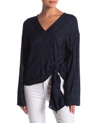 Mustard Seed - Plaid Bell Sleeve Knotted Blouse - Lyst