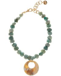 Nest - Amazonite & African Water Buffalo Horn Pendant Necklace - Lyst