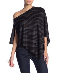 Go Couture - Knit Animal Print Poncho - Lyst