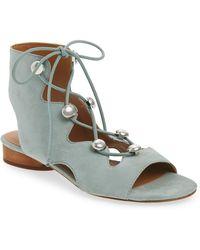 53beca5ff294 Soludos Ghillie Suede Platform Espadrille Sandals in Gray - Lyst