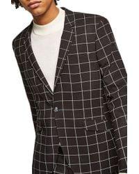 TOPMAN - Skinny Fit Windowpane Suit Jacket - Lyst