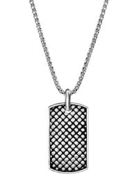 Steve Madden - Textured Mesh Design Dogtag Pendant Box Chain Necklace - Lyst