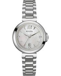Bulova - Women's Diamond Gallery Bracelet Watch - 0.015 Ctw - Lyst