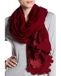 Saachi - Nova Floral Embroidered Border Wool Scarf - Lyst