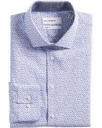 Calibrate - Trim Fit Print Cotton & Linen Dress Shirt - Lyst