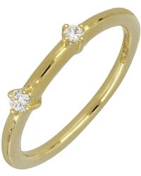 Bony Levy - 18k Yellow Gold Double Diamond Stack Ring - 0.09 Ctw - Lyst