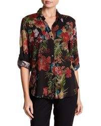 Casual Studio - Printed Roll Up Sleeve Blouse - Lyst