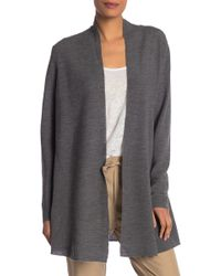 0a91f836186b Eileen Fisher Mandarin Collar Merino Wool Cardigan in Gray - Lyst