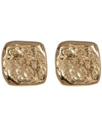 Argento Vivo - 18k Gold Plated Sterling Silver Hammered Square Stud Earrings - Lyst