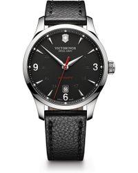 Victorinox - Men's Alliance Automatic Round Leather Strap Watch, 40mm - Lyst