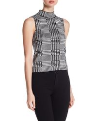 Gracia - Sleeveless Houndstooth Knit Blouse - Lyst