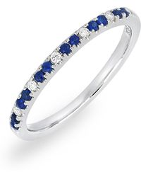 Bony Levy - 18k White Gold Pave Diamond & Sapphire Stackable Band Ring - 0.05 Ctw - Lyst