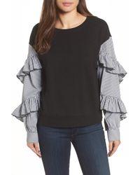 Halogen - Poplin Ruffle Sleeve Sweatshirt (petite) - Lyst