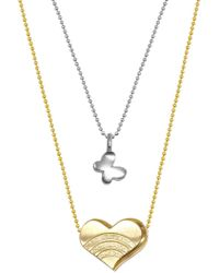 Alex Woo - Sterling Silver & 14k Yellow Gold Mini Butterfly & Heart Pendant Necklace - Set Of 2 - Lyst