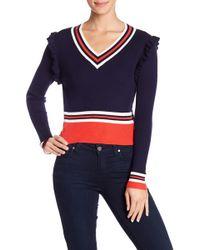 Fate - Ruffle Trim Colorblock Sweater - Lyst