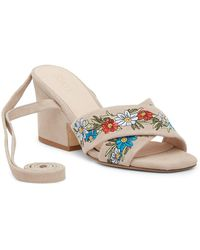 RAYE - Flora Embroidered Heeled Sandal - Lyst